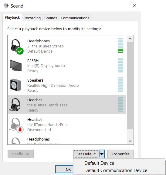 Setting up correct playback and communication device in Windows 10